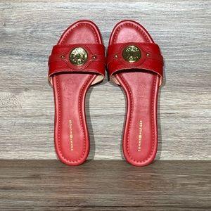 Tommy Hilfiger Twicela Red Leather Slide Sandals